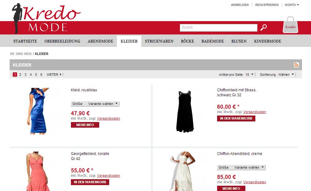 Online-Shop Mode-Kredo