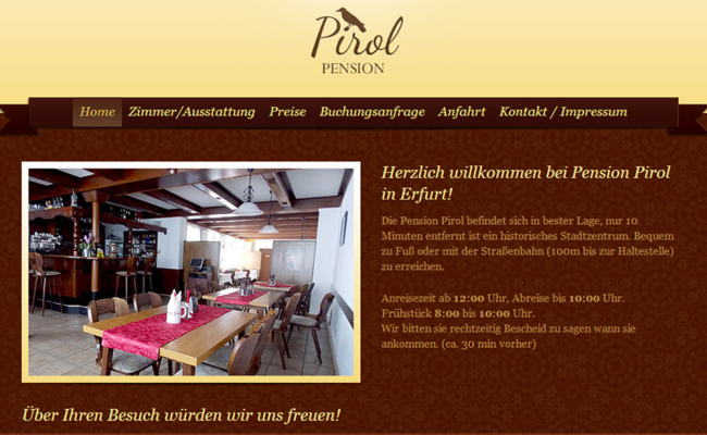 Webseite Pension-Pirol